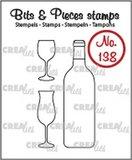 Crealies Stempel Bits & Pieces 138 - Wijnfles & glazen_