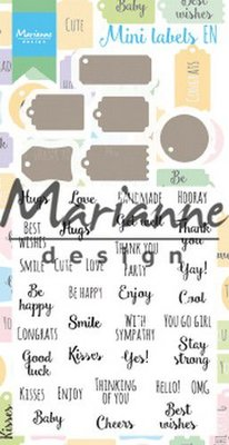 Marianne Design Stamp & Die Set - Mini Labels EN CS1029