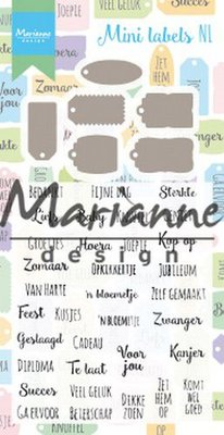 Marianne Design Stamp & Die Set - Mini Labels NL CS1028