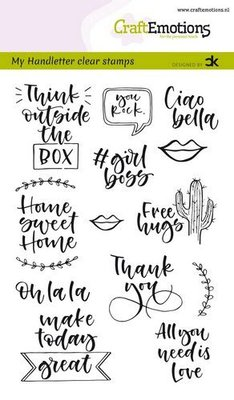 CraftEmotions Clearstamp A6 - Handletter Quotes 2 ENG