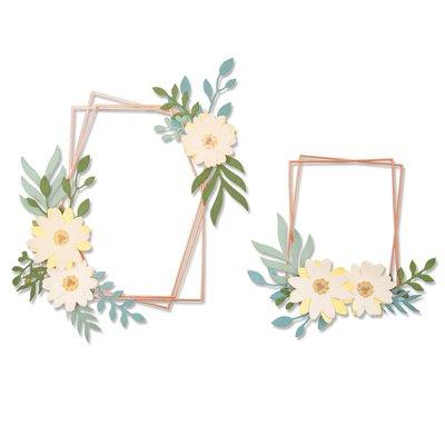 Sizzix Thinlits Die - Geo Floral Frame 664377