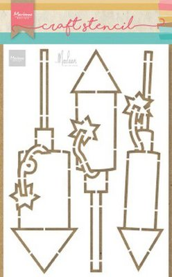 Marianne Design Craft Stencil - Fireworks by Marleen PS8050