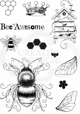 Creative Expressions Pink Ink Clear Stamp A5 - Bee-utiful