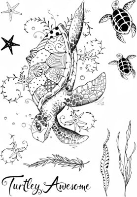 Creative Expressions Pink Ink Clear Stamp A5 - Sea Turtle