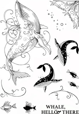 Creative Expressions Pink Ink Clear Stamp A5 - Whale
