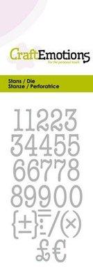 CraftEmotions Die - Typewriter Numbers (pre-order)