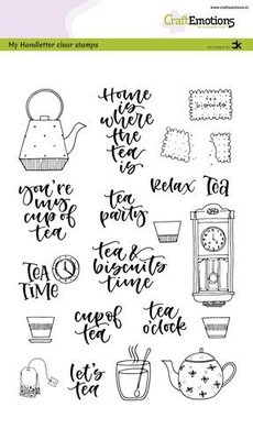 CraftEmotions Clearstamp A5 - Tea Time
