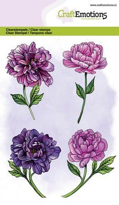 CraftEmotions Clearstamp A6 - Peony