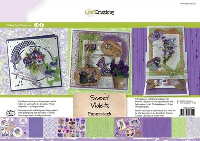 CraftEmotions Paper Pack A4 - Sweet Violets OP=OP