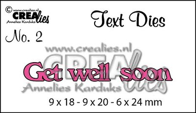 Crealies Tekststans UK   2 - Get Well Soon OP=OP
