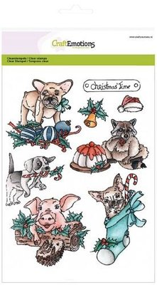 CraftEmotions Clearstamp - Christmas Pets 1