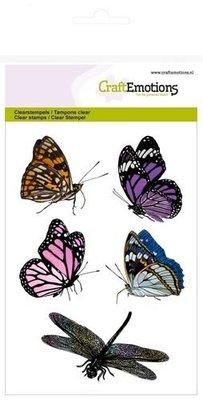 CraftEmotions Clearstamp - Vlinders & Libelle