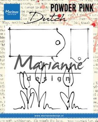 Marianne Design Stempel Powder Pink - Tulpen & Labels PP2801