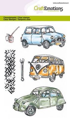 CraftEmotions Clearstamp - Classic Cars