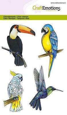 CraftEmotions Clearstamp - Tropische Vogels
