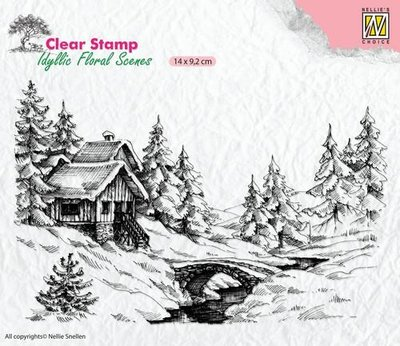 Nellie's Choice Clearstamp Idyllic - Flora winter scene 1 IFS009