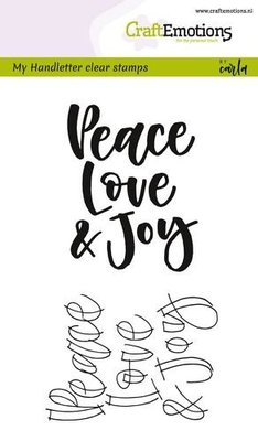 CraftEmotions Clearstamp - Handlettering Peace Love & Joy