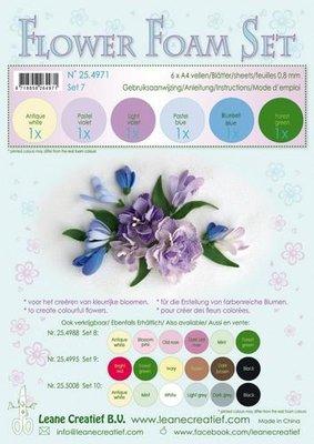 Leane Creatief Flower Foam Assortiment  7 - Pastel blauw/violet 25.4971