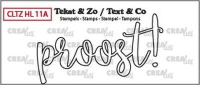 Crealies Stempel Tekst & Zo - Handlettering 11a - Proost