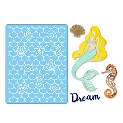 Sizzix Thinlits Die/Textured Impressions - Dream Mermaid 662752 OP = OP