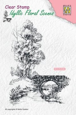 Nellie's Choice Clearstamp Idyllic - Scene with Stream and Bridge IFS011