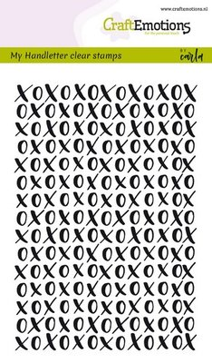 CraftEmotions Clearstamp A6 - Achtergrond Handletter XOXO