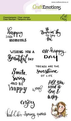 CraftEmotions Clearstamp A6 - Kaat & Odey Spring Quotes