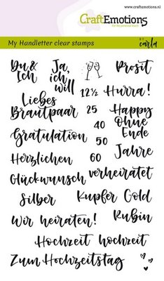 CraftEmotions Clearstamp A6 - Handletter Hochzeit