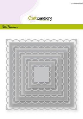 CraftEmotions Nesting Die - Vierkanten Scalop XL