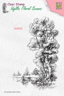 Nellie's Choice Clearstamp Idyllic - Boom met Boot IFS014