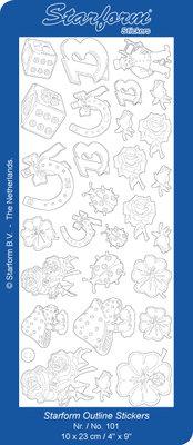 Starform Sticker Sheet - Luck Symbols - Zilver 0101.002