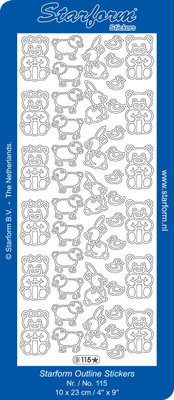 Starform Sticker Sheet - Baby Decorations 1 - Zilver 0115.002