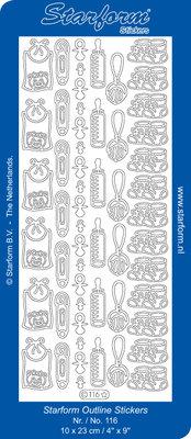 Starform Sticker Sheet - Baby Decorations 2 - Zilver 0116.002