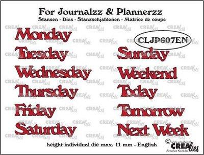 Crealies Journalzz & Plannerzz - Stansen: Weekdagen EN