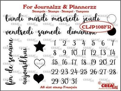 Crealies Journalzz & Plannerzz - Stempels: Weekdagen FR