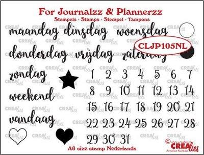 Crealies Journalzz & Plannerzz - Stempels: Weekdagen NL