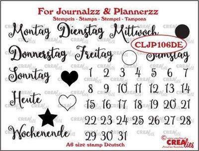 Crealies Journalzz & Plannerzz - Stempels: Weekdagen DE