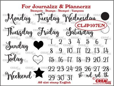 Crealies Journalzz & Plannerzz - Stempels: Weekdagen EN