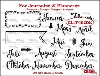 Crealies Journalzz & Plannerzz - Stempels: Maanden DE