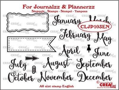 Crealies Journalzz & Plannerzz - Stempels: Maanden EN