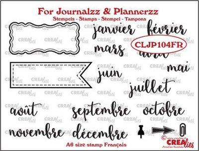 Crealies Journalzz & Plannerzz - Stempels: Maanden FR
