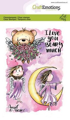 CraftEmotions Clearstamp A6 - Angel & Bear 2