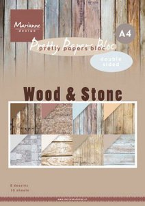 Marianne Design Paper Pad A4 - Wood &  Stone PK9170