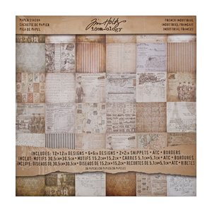 "Idea-Ology Tim Holtz Paper Stash 12"" x 12"" - French Industrial TH93052"