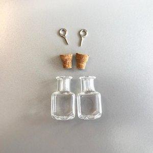Mini Flesjes Vierkant met Kurk & Schroef 13,8 x 24 mm - 12423-2312