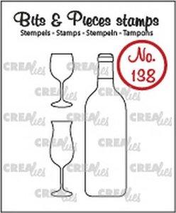 Crealies Stempel Bits & Pieces 138 - Wijnfles & glazen