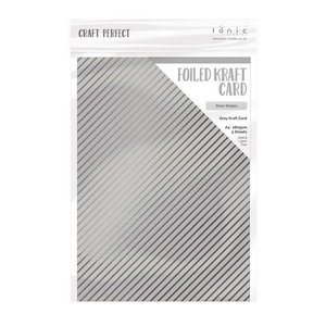 Tonic Studios Foiled Kraft Card - Silver Stripes 9342E
