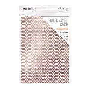 Tonic Studios Foiled Kraft Card - Rose Gold Triangles 9347E